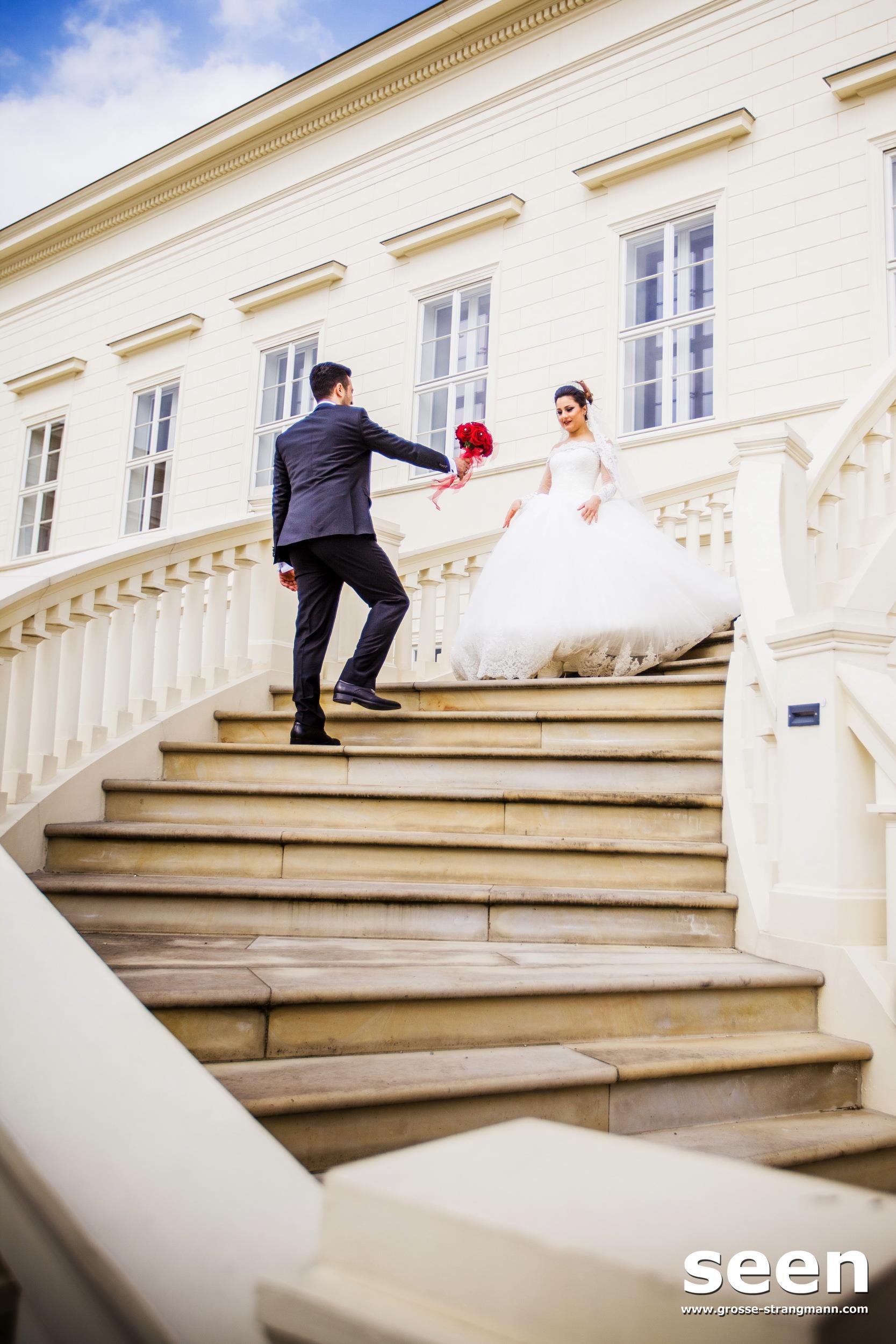 Brautpaar Schlosstreppe